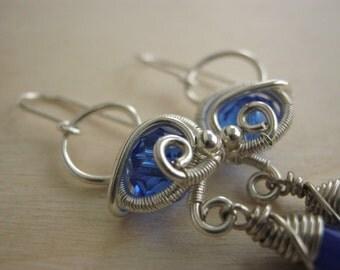 victorian earring, wire wrapped earring, wire wrapped jewelry, bridal jewelry, bridal earring, silver blue jewelry - NORDERN SEA