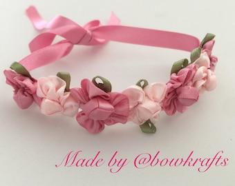 Mix pink flowers hair bun wreath
