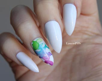 White stiletto false nails! Rainbow water colors effect on accent nails! Set of 12 hand painted nails!