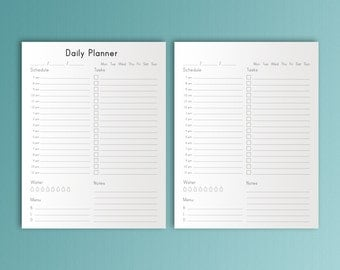 DAILY PLANNER Printable Letter Size 8.5 x 11 Work Day Planner Planner Pages Desk Planner Life Management PDF Daily Agenda. Instant Download.