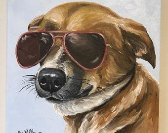 Custom pet painting, Custom Dog Painting, Custom pet portrait on canvas, dog art, cat art