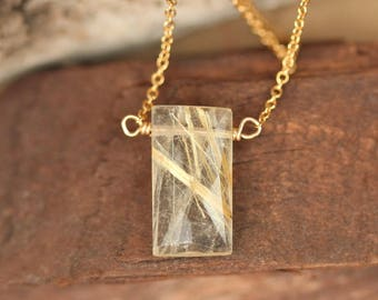 Gold rutilated quartz necklace // rectangle necklace // quartz necklace // geometric necklace // crystal necklace // gemstone necklace