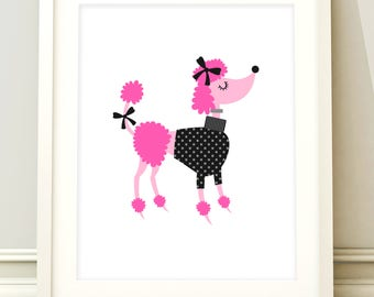 Poodle nursery print, poodle print, poodle wall art, poodle nursery print, pink decor, poodle bedroom, poodle wall decor, kids room