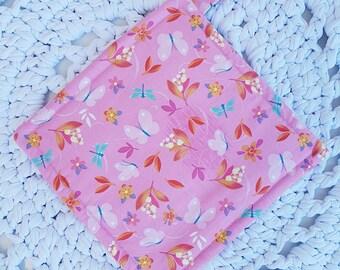 Simple Potholder/Trivet/Hotpad Dragonflies and Butterflies Pink