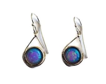 Opal earrings, Silver drop earrings, blue opal earrings, dangle earrings, opal drop silver earrings, gemstone earrings, opal jewelry, gift