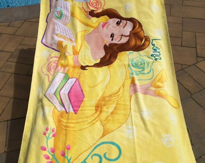 OVERSIZED Beauty and the Beast Princess Belle Mrs Potts Beach Towel - Personalized Beach Towel