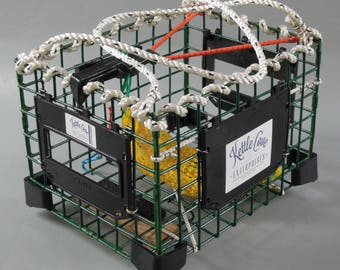 Bicycle Trap Basket, for the rear of a bicycle, made from lobster trap components. Removes easily without any tools.