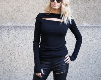 Black cut out Blouse/Long Sleeve Tunic/Off shoulder Top/Casual Blouse/Long Top/Open shoulder top/Summer blouse/Black top/Stretchy top/F1648