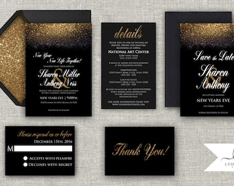 New Years Invitation Black Gold Silver Glitter New Years Eve Wedding Elegant Formal Wedding Invitation Set Printable Digital Printed
