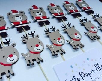 Handmade Cupcake Toppers - Santa Bear & Reindeer Theme x 12