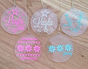 Acrylic Christmas decorations. Laser engraved Christmas baubles.