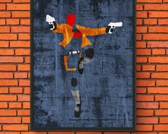 Minimalism Art - Red Hood Print