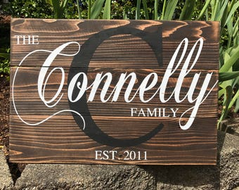 Personalized Family Name Sign Rustic Pallet Wood Monogram Wood 16.5x24