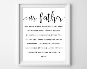 Our Father Prayer Print, The Lords Prayer, Catholic Print, Christian Print, Confirmation Gift, Baptism Gift, Bible Verse, Instant Download