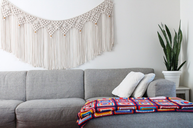 macram mural sur corde 6 pieds guirlande t te de lit. Black Bedroom Furniture Sets. Home Design Ideas
