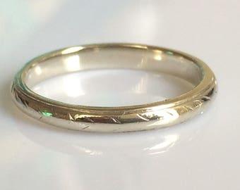 Art Deco 2mm White Gold Ring circa 1925