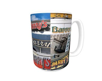 Personalized Coffee Mug featuring the name BARRY in photos of signs; Ceramic mug; Unique gift; Coffee cup; Birthday gift; Coffee lover