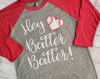 Glitter Hey Batter Batter Baseball Heart Raglan T Shirt. Baseball Shirt, Softball Shirt