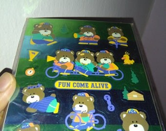 Vintage Sanrio Metallic Bear Bicycle Fun Come Alive 1986 Japan Stickers Sheet