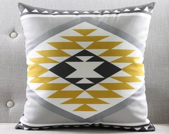 Aztec Decorative pillow cover/ Grey gold black white cushion cover/  Euro pillow /pillow sham custom made