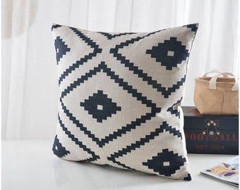 "Natural/ Black Aztec Pillow cover, geometric printed cotton linen cushion cover/throw pillow cushion shell 18x18""/12x20"""