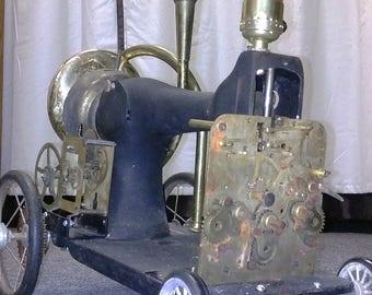 steampunk sewing michine lamp