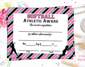 INSTANT DOWNLOAD - Softball Certificate of Achievement - Softball Award - Print at Home - Softball Certificate of Completion - Sports Award