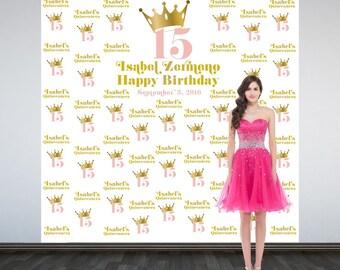 Birthday Princess Personalized Photo Backdrop, Royal Princess Photo Backdrop, Sweet 16 Birthday Photo Backdrop - Custom Photo Booth Backdrop