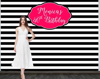 Black and White Stripes Personalized Photo Backdrop -Birthday Party Backdrop- Photo Backdrop -Photo Booth Backdrop