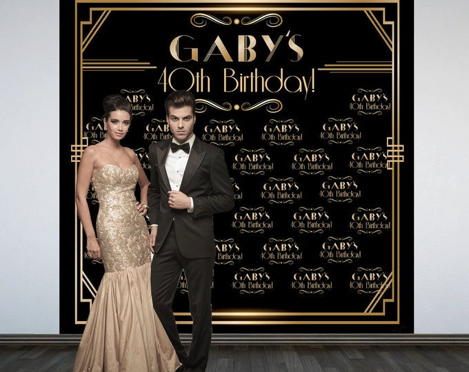 Featured listing image: Great Gatsby Party Personalized Photo Backdrop -Roaring 20's Step and Repeat Photo Backdrop- Birthday Photo Booth Backdrop