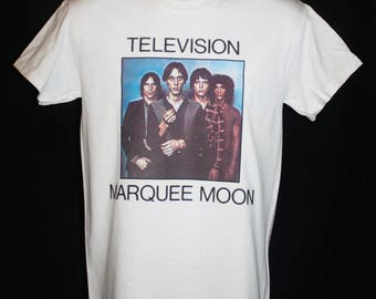 television marquee moon band t-shirt retro indie hipster vintage vtg 80s 1980s punk post punk rock