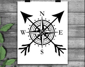 Nautical compass cut file, compass silhouette, compass svg, compass png, compass stencil, compass silhouette, nautical, cut file
