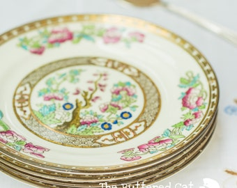 Set of four (4) vintage Harrods of London tea plates, Indian Tree pattern