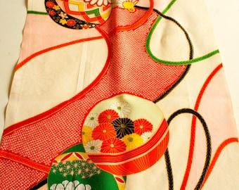 "Vintage Japanese girl's kimono fabric **Ball**76cm(30"")"