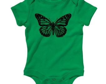 Baby Monarch Butterfly Romper - Infant One Piece - NB 6m 12m 18m 24m - Black Print, Butterfly Shirt, Butterfly Creeper, Nature - 15 Colors