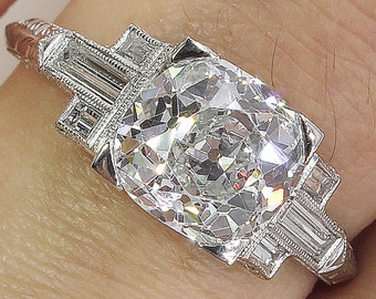 GIA 2.23ct Antique Vintage Art Deco Old Cushion Diamond Engagement Wedding Platinum Ring