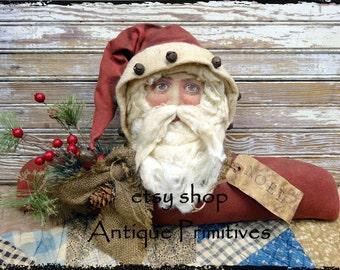 Very Primitive Handmade Folkart Santa Realistic Face Shelf Sitter SO COOL Must See