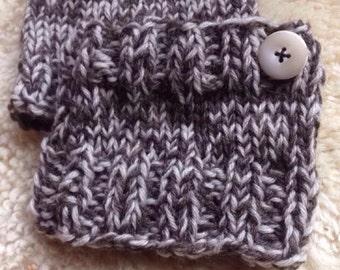 Hand knit wool boot cuffs, knitted boot cuffs, boot cuffs with button, two tone, wool cuffs, winter wear, womens boot cuffs