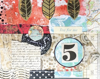 Greeting card, original collage design, inside left blank for your own special message