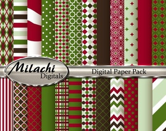 60% OFF SALE Christmas Digital Paper Pack - Commercial Use - Instant Download - M148
