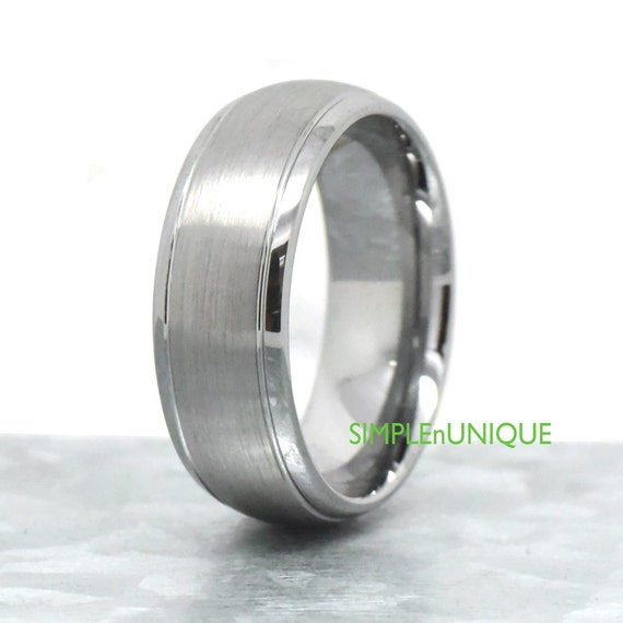 8mm Tungsten Ring Tungsten Carbide Mens Wedding Bands