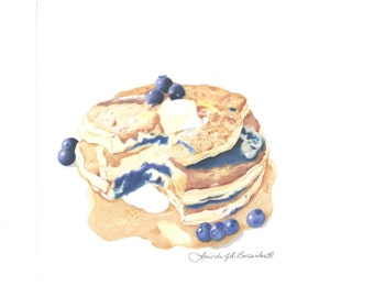 "Blueberry Pancakes, Prismacolor colored pencil, breakfast, drawing, illustration, print, berries, food, 8"" x 10"", kitchen, photo realistic"