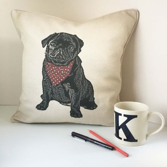 Black Pug cushion pillow. An original design, handmade in Bath, UK