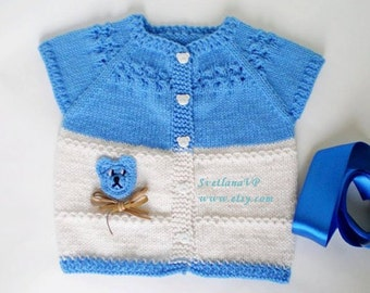 Newborn boy Blue White Baby Hand Knitted Vest, 12-18m, Cute Baby Clothes, Unique Baby Cardigan, Аppliqued Bear, Knitted Baby Boy Clothes