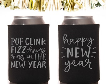 Metallic Silver and Black New Year's Eve Can Cooler Neoprene Can Coolers // Favors Year Pop Fizz Cheers Ring In