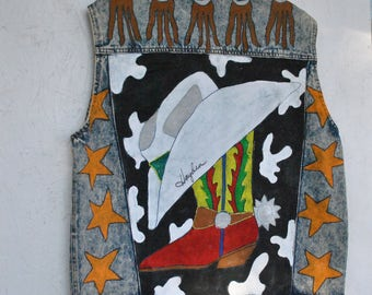 Vintage Denim Vest, Handpainted by Hayden Hall, Size M