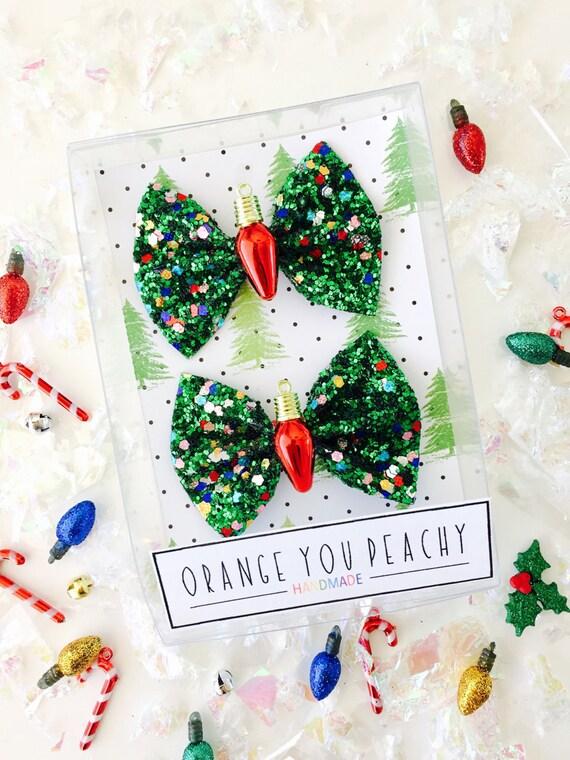 Christmas Light Hair Bow Holiday Glitter Bows Christmas - Christmas Tree Hair Bows