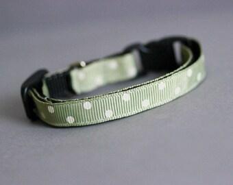 Light Green Cat Collar Green Collar Green Polka Dot Collar Breakaway Cat Collar Safety Cat Collar Green Dotty Collar Ribbon Cat Collar
