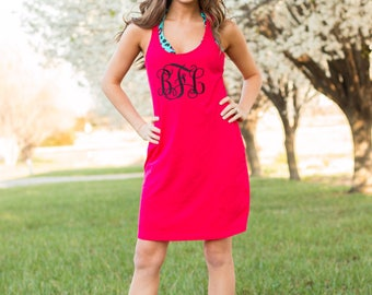 Monogram Swimsuit Cover Up | Bridesmaids Gift | Large Monogram Dress | Racerback Tank Dress | Custom Sleep Shirt | Casual Dress