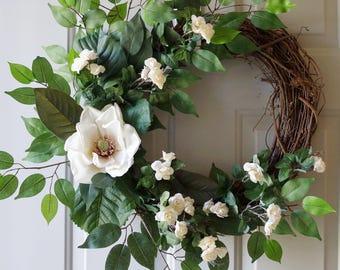 Magnolia Wreath, Roses Magnolia Wreath Cream White Green , Summer Wreath, Large Wreath